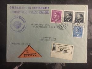 1943 Hradec Kralove Bohemia Moravia Multi Frank Commercial Cover Czechoslovakia