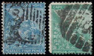 Cape of Good Hope Scott 17, 19 (1864-65) Used F, CV $8.75 B