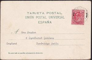 GB 1909 postcard (Grand Canary), EVII 1d PAQUEBOT / LIVERPOOL cds...........8050