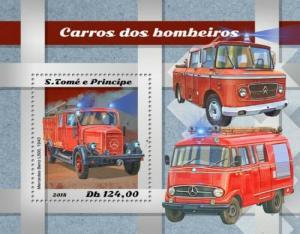 St Thomas - 2018 Fire Engines - Stamp Souvenir Sheet - ST18505b