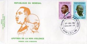 Senegal 1978 Mi#666/667 GANDHI-MARTIN LUTHER KING Set (2) Official FDC