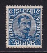 Iceland    #124  used   1922  Christian X   40a  blue