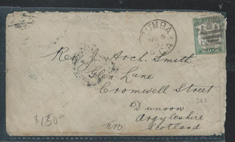 BRITISH CENTRAL AFRICA (P0112B) 1897 6D ARMS COVER ZOMBA TO JOHANNESBURG