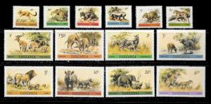 TANZANIA Sc#161-174 ANIMALS Mint Never Hinged Complete Set