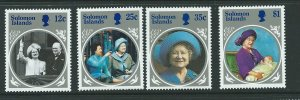 SOLOMON ISLANDS SG538/41 1985 LIFE & TIMES OF THE QUEEN MOTHER  MNH