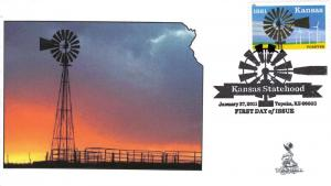 Kansas Statehood First Day Cover, with b&w postmark