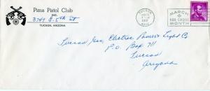 US Scott 1058 on 1961 Ad Cover for Pima Pistol Club in Tucson, Arizona