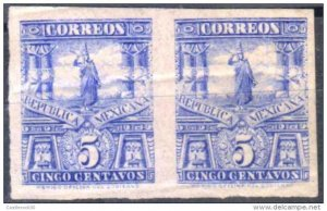 RG)1895 MEXICO, MULITAS, CUAUHTEMOC STATUE, REGULAR PERFORATION HORIZONTAL PAIR,