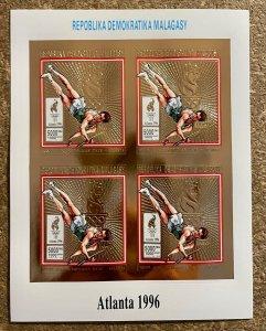 Stamps Gold Minisheet Olympic Games Atlanta 96 Madagascar Imperf.