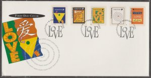 Singapore 1995 Greetings Stamps Love No Value Indicator (Self-Adhesive) FDC