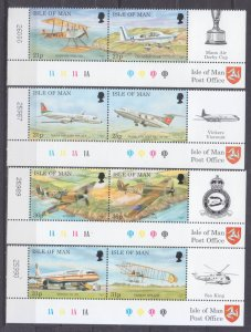 1997 Isle of Man 722-729Paar+Tab Airplanes 7,50 €