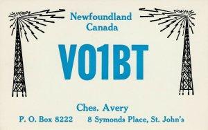 7236 Amateur Radio QSL Card  St John's Canada