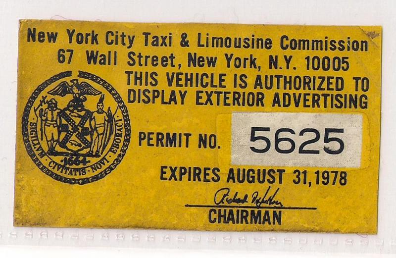 NYC TLC Exterior Advertising sticker used 1978 Very Rare
