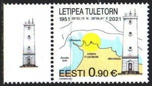 Estonia. 2021. 1003. Lighthouses, map. MNH.