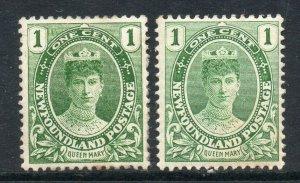 Newfoundland 1911 Coronation 1c both shades SG 117, 117a mint CV £35