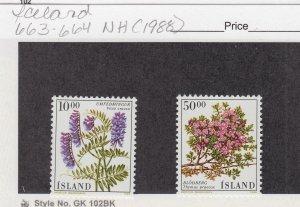 J29027, 1988 iceland set mnh #663-4 flowers