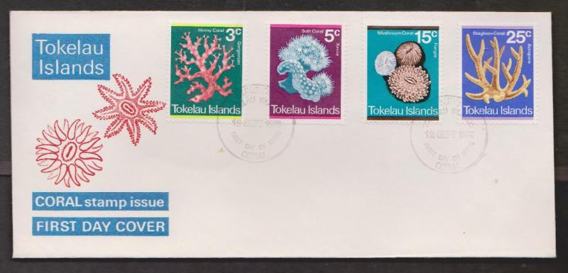 TOKELAU ISLANDS Scott 37-40 FDC - Corals On Stamps Issue