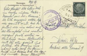 Germany 6pf Hindenburg Medallion 1937 Deutsche Schiffspost D. Oceana, Hamburg...