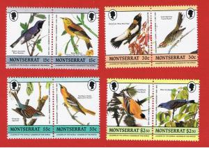 Montserrat #580-583  MVFLH OG  Audubon Bird Pairs Free S/H