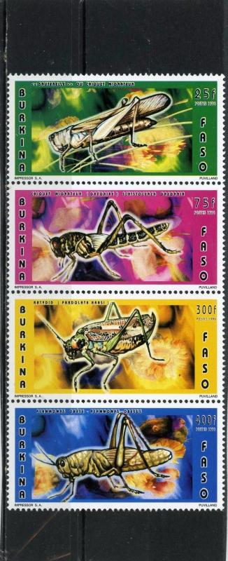 BURKINA FASO 1996 Sc#1073B FAUNA/INSECTS STRIP OF 4 STAMPS MNH