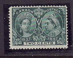 Canada-Sc#52-Unused 2c green-QV Diamond Jubilee-og- light hinge-1897-Cdn190-diag