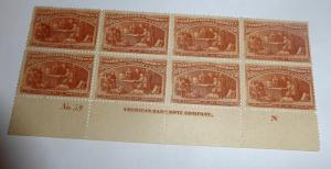 #239 30 cent Columbian plate block
