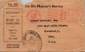 London UK > Dewhurst Cleveland OH 1949 His Majesty's Service no stamp reuse