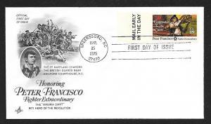 UNITED STATES FDC 18¢ Peter Francisco 1975 ArtCraft