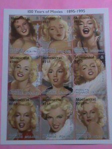 MONTSERRAT STAMP-1995-100 YEARS OF MOVIE:MARILYN MONROE -MNH STAMP SHEET -RARE