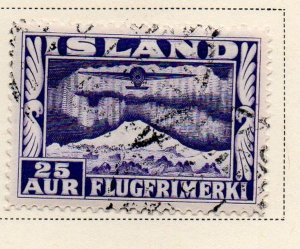Iceland Sc C17 1934 25 aur plane and Aurora Borealis stamp used