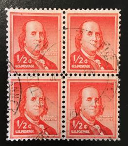 1030 Benjamin Franklin, Circulated Block of 4, Vic's Stamp Stash