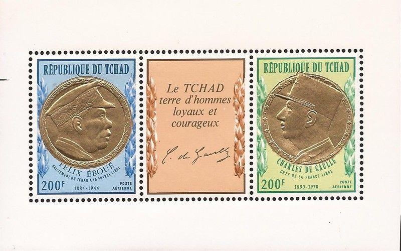 Chad - 1971 Charles de Gaulle - S/S of 2 Stamp + Label - Scott #C93a