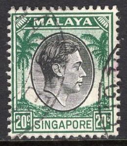Singapore   #12  used   1948  George  VI   20ct   perf 14
