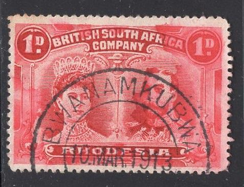 Rhodesia     #102  1910  used  queen and king 1p