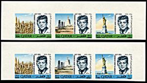 Qatar 119-119A, MNH, Revalued John F. Kennedy strips imperf.