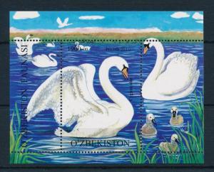 [23106] Uzbekistan 2010 Birds Vögel Oiseaux Ucelli Swans Very Nice Sheet MNH