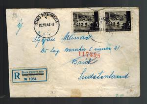 1942 Staro Bosnia to Brux Germany Flossenburg Concentration Sub Camp Cover