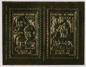 Congo PR C85 MNH Space, Astronauts, Armstrong, Collins, Aldrin, Apollo XI