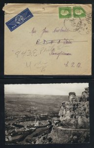 France NY 1945 2 x 10fr Stamps Cover with RPPC Mende Corresponded  in French F