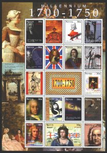 Nevis. 2000. Small sheet 1458-74. Millennium, Peter 1, Bering, Newton, Bach, ...
