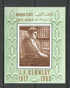NW0206 1967 SOUTH ARABIA KENNEDY USA PRESIDENT AIRMAIL MICHEL 12 EURO BL1A MNH