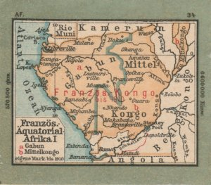 Germany Schaubek Poster Stamp FRENCH EQUATORIAL AFRICA I Map A6092