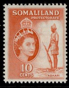 SOMALILAND PROTECTORATE QEII SG138, 10c red-orange, LH MINT.
