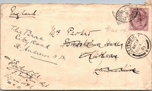 Clitherow UK > St Andrews redirected 1901 QV purple 1881 1d stamp