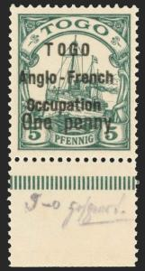 Togo Scott 34 Gibbons 13 Never Hinged Stamp