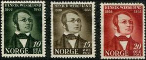 Norway SC# 269-71 Henrik Wergeland Poet set MNG