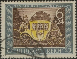 Stamp Germany Mi 828 Sc B215 1943 WWII 3rd Reich Carriage Mail Coach Used