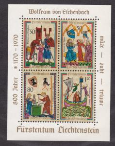 Liechtenstein # 471, Minnesinger, Souvenir Sheet,  NH, 1/2 Cat.