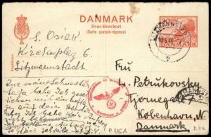 Denmark Reply Card Germany 1940 Lodz Litzmannstadt Ghetto Cover 83942