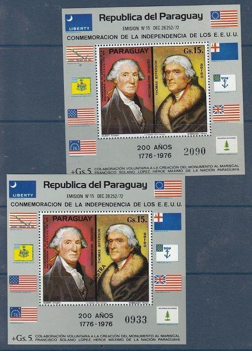 Paraguay Scott 1625A Mint NH regular and specimen sheets
